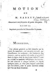 Motion de M. Rabaut, concernant une formation de petits Assignats