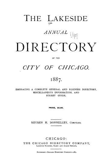 The Lakeside Annual Directory of the City of Chicago PDF