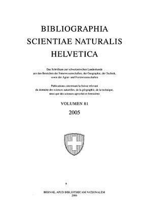 Bibliographia scientiae naturalis Helvetica PDF