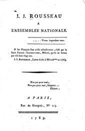 J.J. Rousseau à l'Assemblée nationale