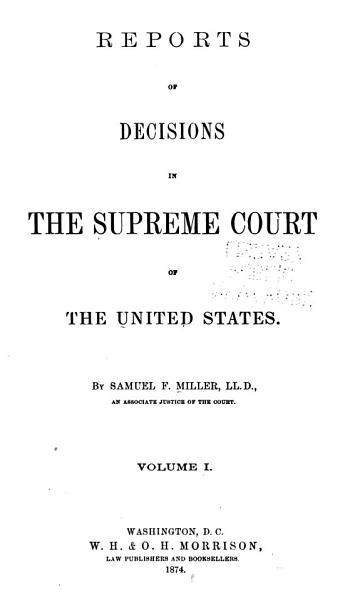 Download Reports of Decisions in the Supreme Court of the United States Book