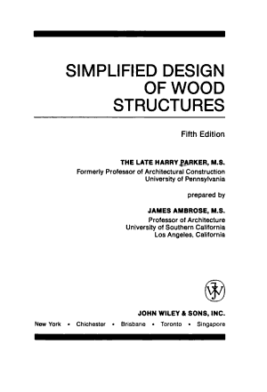 Simplified Design of Wood Structures PDF
