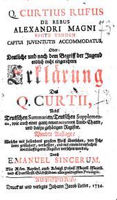 Q. Curtius Rufus De Rebus Gestis Alexandri Magni recte Tandem Captui Juventutis Accommodatus