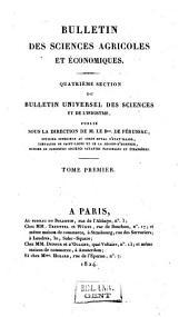Bulletin universel des sciences et de l'industrie. 4: Bulletin des sciences agricoles et agronomiques, Volume1