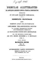 Formulae allitterantes ex antiquis legibus lingua Frisica conscriptis extractae et cum aliis dialectis comparatae