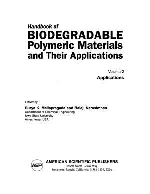 Handbook of Biodegradable Polymeric Materials and Their Applications  Applications