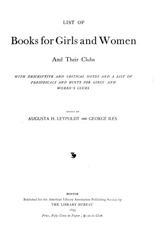 List of Books for Girls and Women and Their Clubs PDF