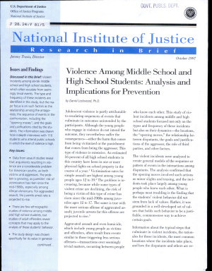 Violence Among Middle School and High School Students