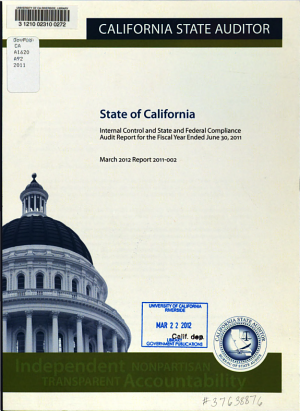 State of California  Internal Control and State and Federal Compliance Audit Report for the Year Ended June 30      PDF