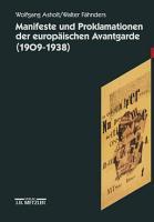 Manifeste und Proklamationen der europ  ischen Avantgarde  1909 1938  PDF