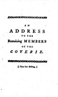 An Address to the Remaining Members of the Coterie PDF