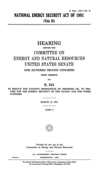 National Energy Security Act of 1991 PDF