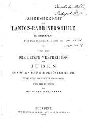 Die letzte Vertreibung der Juden aus Wien und Niederösterreich: ihre Vorgeschichte (1625-1670) und ihre Opfer