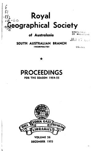 Proceedings - Royal Geographical Society of Australasia. South Australian Branch