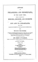 Annals of Philadelphia and Pennsylvania in the Olden Time PDF
