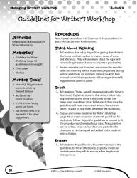 Writing Lesson Level K Guidelines For Writer S Workshop Book PDF