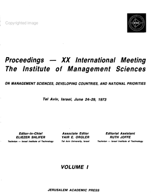Proceedings  XX International Meeting  the Institute of Management Sciences  on Management Sciences  Developing Countries  and National Priorities PDF