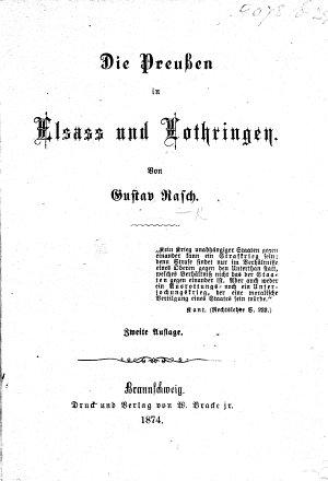 Die Preussen in Elsass und Lothringen     Zweite Auflage PDF