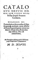 Catalogus brevis eorum quae contra novas Sectas scripsit Joannes Cochlaeus PDF