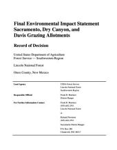 Lincoln National Forest (N.F.), Sacramento Dry Canyon and Davis Grazing Allotments: Environmental Impact Statement