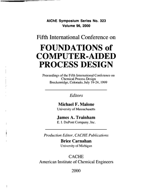 Fifth International Conference on Foundations of Computer Aided Process Design PDF