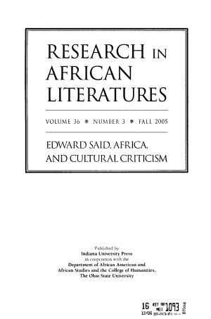 Research in African Literatures PDF