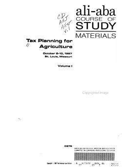 Tax Planning for Agriculture PDF
