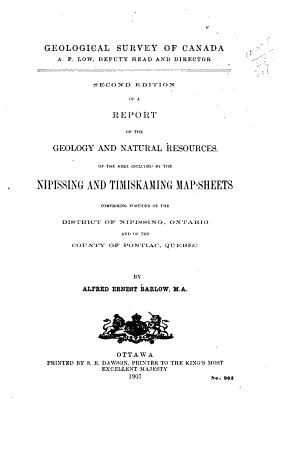 Second Ed  of a Report on the Geology and Natural Resources of the Area Included by the Nipissing and Timiskaming Map sheets PDF