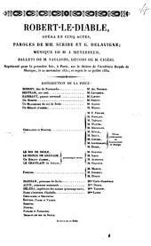 Robert-le-Diable: opéra en cinq actes