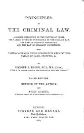 Principles of the Criminal Law: A Concise Exposition of the Nature of Crime, the Various Offences Punishable by the English Law, the Law of Criminal Procedure, and the Law of Summary Convictions, with Table of Offences, Their Punishments and Statutes, Tables of Cases, Statutes, &c