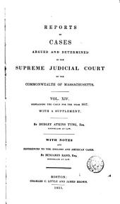 Reports of Cases Argued and Determined in the Supreme Judicial Court of the Commonwealth of Massachusetts: 1817, Volume 14