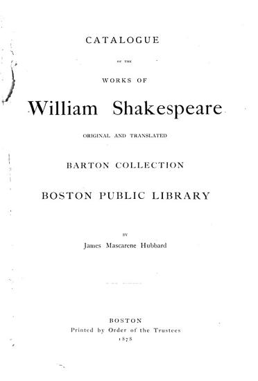Catalogue of the Barton Collection  Boston Public Library PDF
