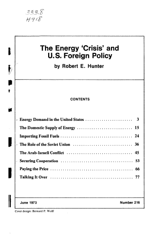The Energy  crisis  and U S  Foreign Policy