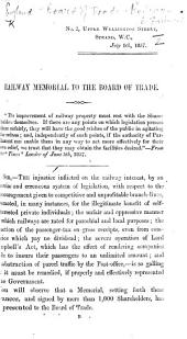 Railway Memorial to the Board of Trade. (Report of proceedings at the public meeting of Railway Proprietors and at the deputation to the Board of Trade, etc.).
