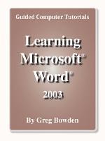 Learning Microsoft Word 2003