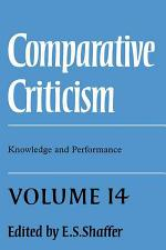 Comparative Criticism: Volume 14, Knowledge and Performance
