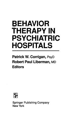 Behavior Therapy In Psychiatric Hospitals