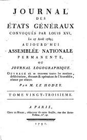 Journal des Et́ats généraux, convoqués par Louis XVI.: Volume23