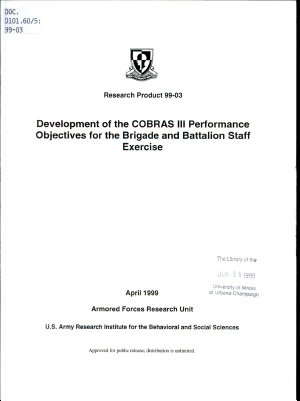 Development of the COBRAS III Performance Objectives for the Brigade and Battalion Staff Exercise PDF