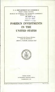 Foreign Investments in the United States PDF