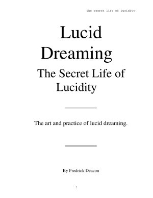 Lucid Dreaming The Secret Life of Lucidity