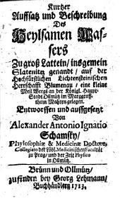 Kurtzer Auffsatz und Beschreibung des heylsamen Wassers zu groß Lattein, insgemein Slatenitz genandt (etc.)