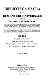 Biblioteca sacra ovvero Dizionario universale delle scienze ecclesiastiche... per la prima volta ... tradotta ed ampliata da una societa di ecclesiastici: Volume 21