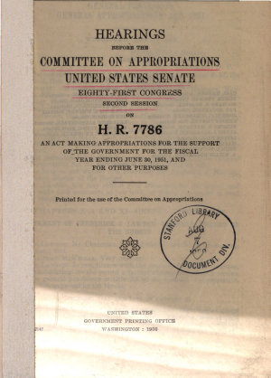 General Provisions General Appropriations Act  1951  Hearings Before     81 2  on H R  7786 PDF