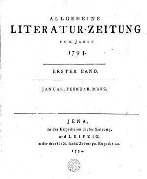 ALLGEMEINE LITERATUR ZEITUNG VOM JAHRE 1794 PDF