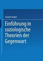 Einf  hrung in soziologische Theorien der Gegenwart PDF