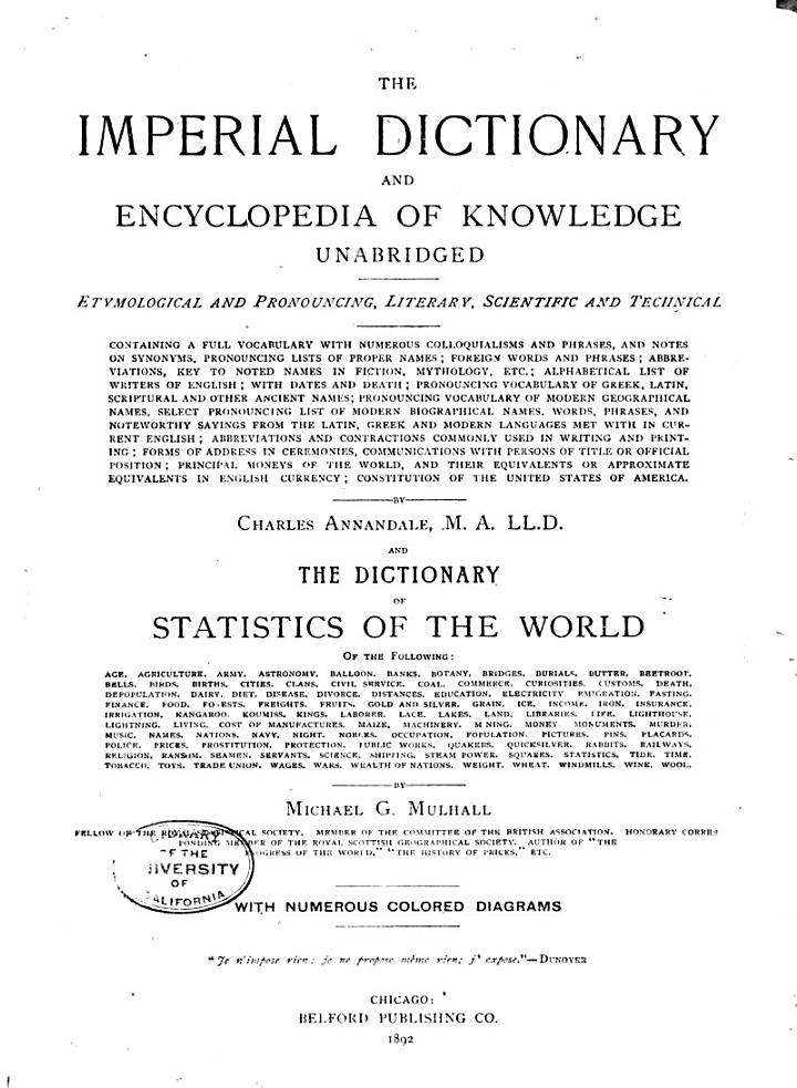 The Imperial Dictionary and Encyclopedia of Knowledge Unabridged