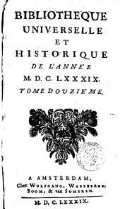 Bibliothèque universelle et historique: Volume12