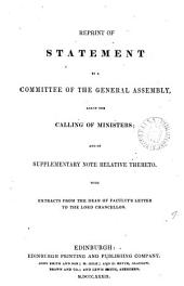 Reprint of statement by a committee of the general assembly anent the calling of ministers: Volume 9