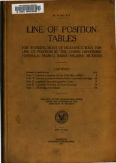 Line of position tables for working sight of heavenly body for line of position by the Cosine-Haversine formula, Marcq Saint Hilaire method...